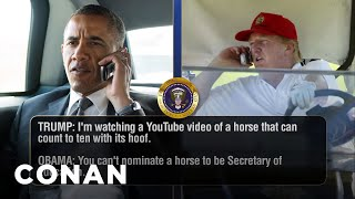Trump Talks To Obama, Dad To Dad  - CONAN on TBS