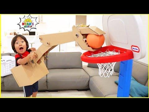 Easy DIY Crane Machine with Ryan vs Daddy Ball Game!!!