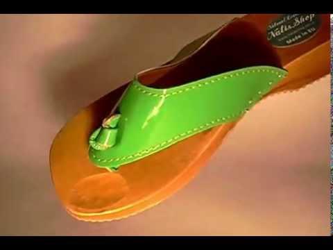 Natisshop Natural Leather Wooden Sole Women Flip Flops Sandals Medical Sole Green