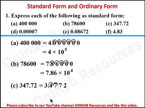 standard form youtube Standard Form and Ordinary Form
