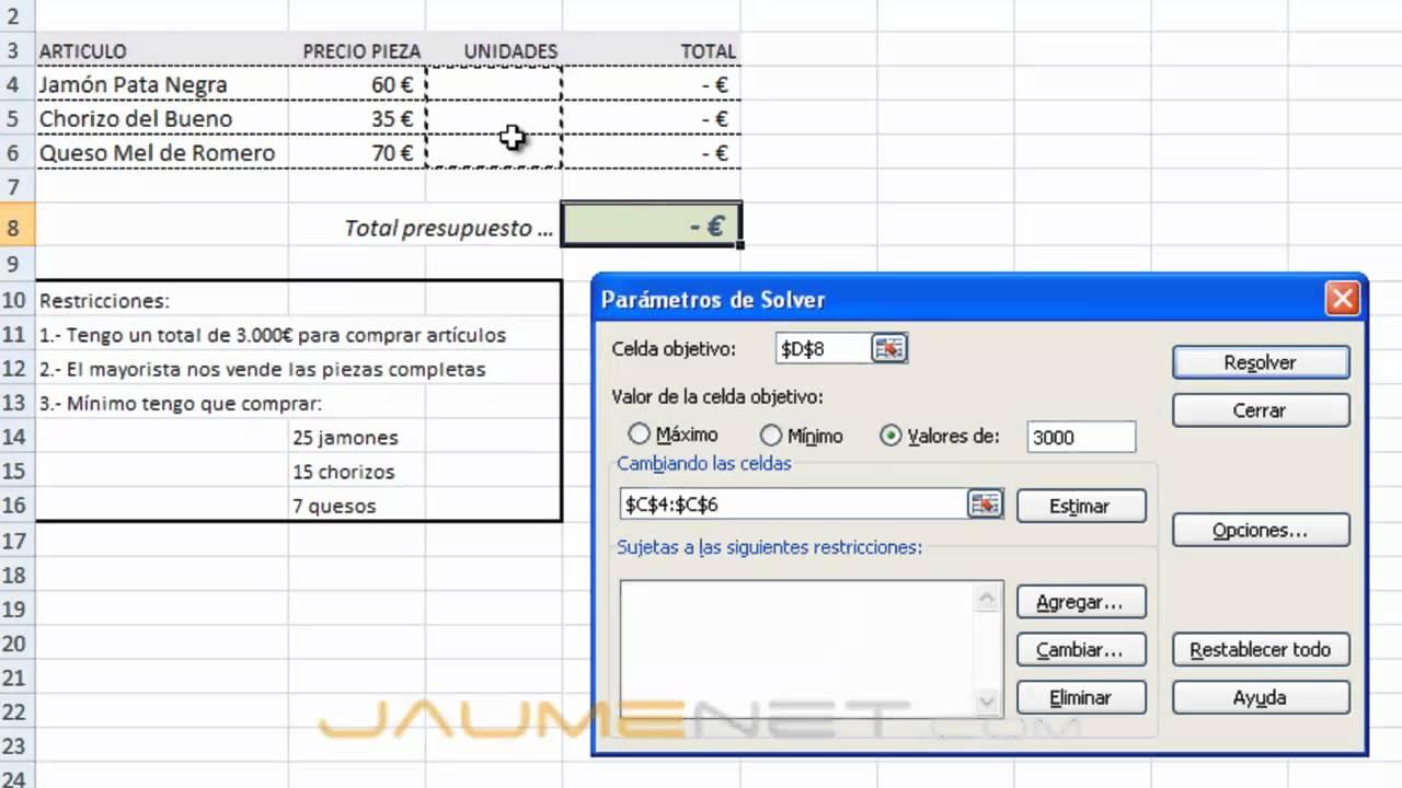Excel 2007 Solver ejemplo sencillo - YouTube
