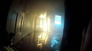 Inside a burning building: Firefighter