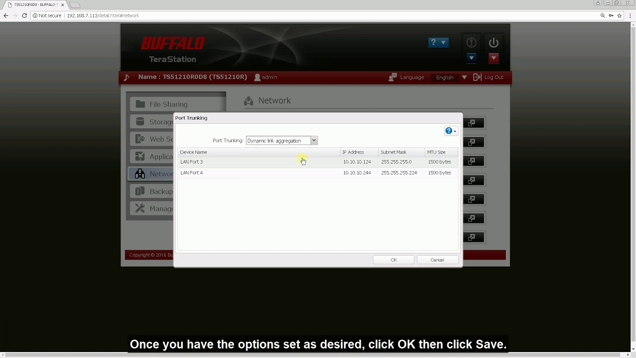 How-to: Configuring Port Trunking on a Buffalo TeraStation