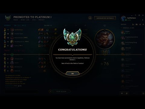 League of legends Platinum 1 / 45 LP Road To Diamond TN-EN