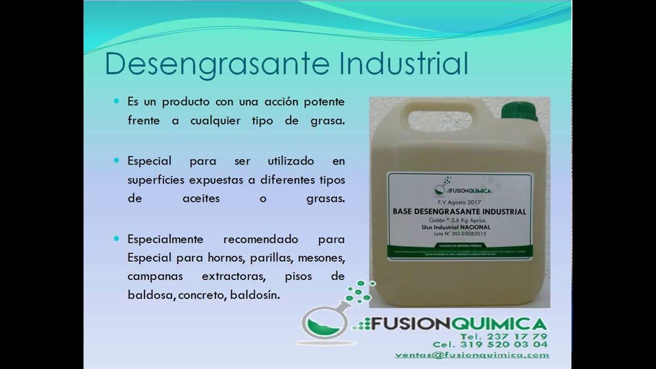desengrasante industrial quimicos formulas y materias