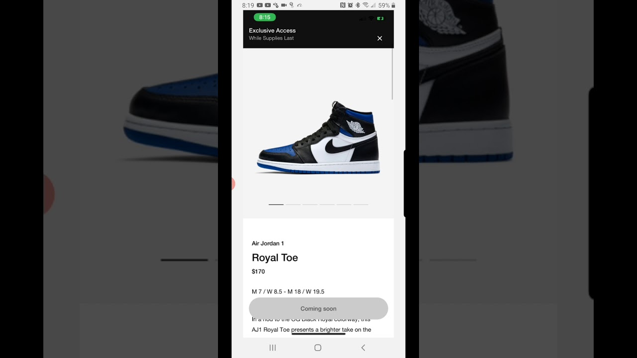 Snkrs app exclusive access alert Jordan