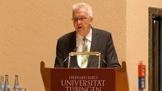 Winfried Kretschmann hält 12. Weltethosrede in Tübingen