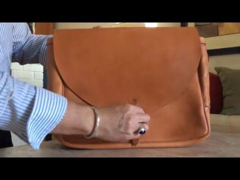 The Albatross Brand Postal Bag in natural vegetable tanned leather