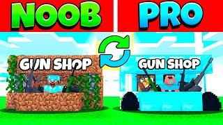 MINECRAFT NOOB VS PRO SWAPPED GUN SHOP IN MINECRAFT ANIMATION BATTLE
