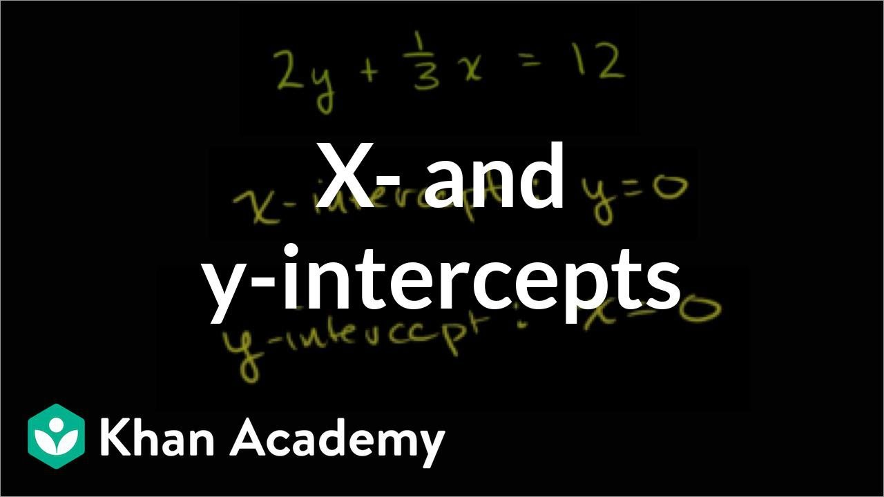 hight resolution of x- and y-intercepts 2   Linear equations and functions   8th grade   Khan  Academy - YouTube