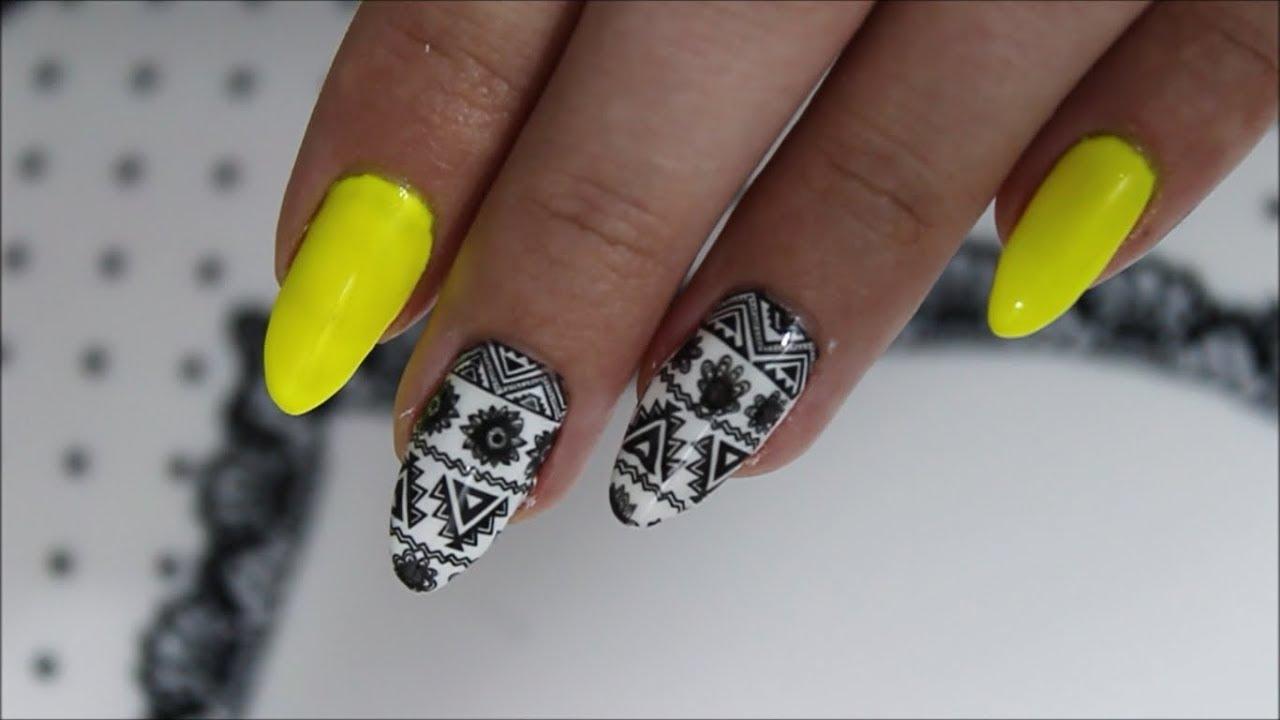 Aztec Nail Art Azteckie Wzory Na Paznokciach Zolte Neonowe