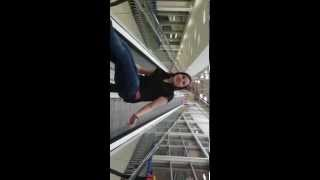 Girl tries to ride Tesco escalator and gets stuck