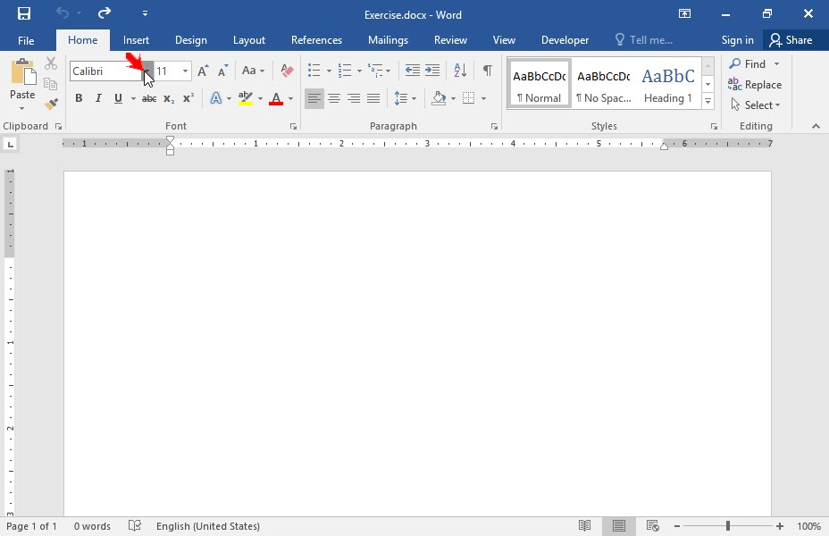 Create a new document, using Microsoft Word application and type the