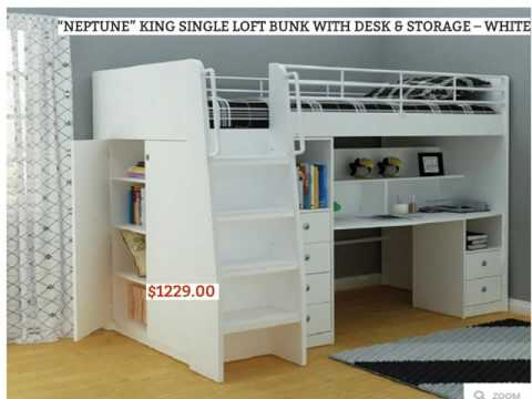 loft beds Australia,loft beds,king single loft bed with desk,loft beds for kids