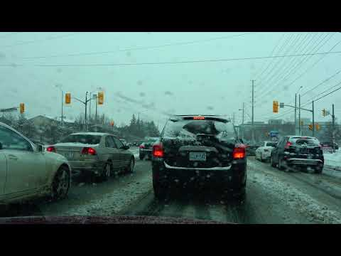 [4K] 2018 Snowfall Driving from Indian Foodland Grocery Store to Costco Wholesale Supermarket Canada