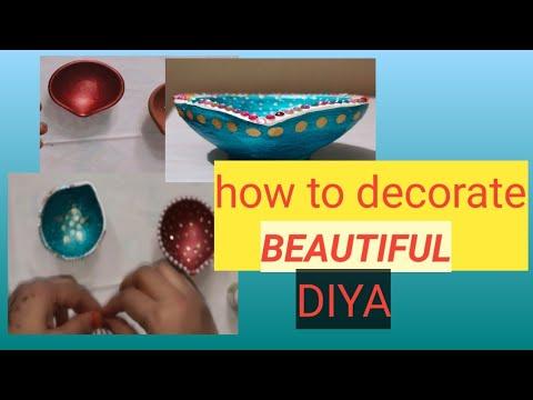 How to decorate Diya at home/DIY/diya decoration competition/AAFIA ARTS