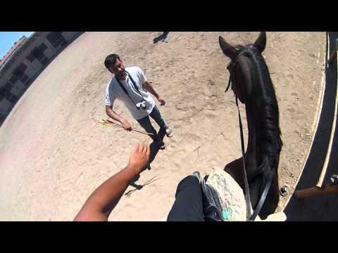 Horseback archery practice with GoPro 1