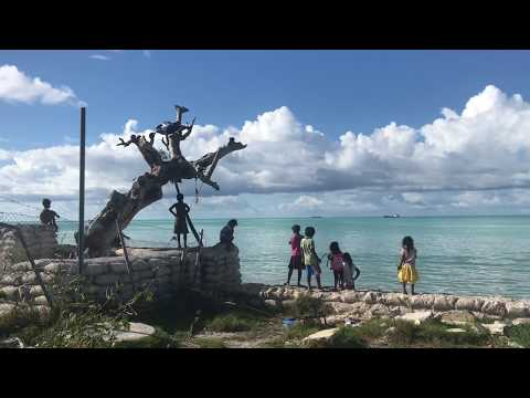 Drive from Kiribati airport to Bentio and lifestyle in Kiribati.