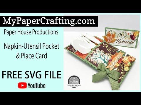 FREE SVG Paper House Napkin Utensil Holder & Place Card