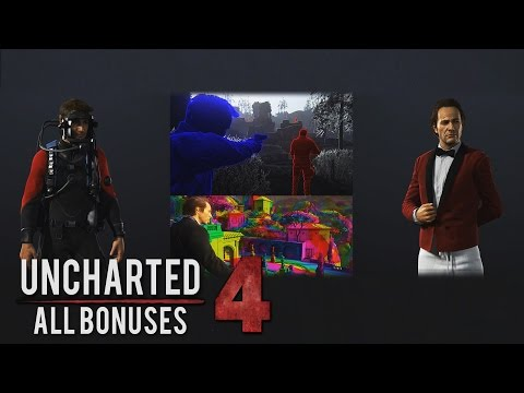 Uncharted 4 - All Cheats, Mods and Bonuses (Singleplayer Outfits/Weapons/Mode) SHOWCASE ONLY