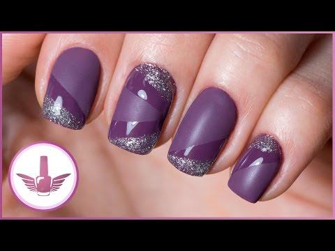 Матовые сиреневые ногти