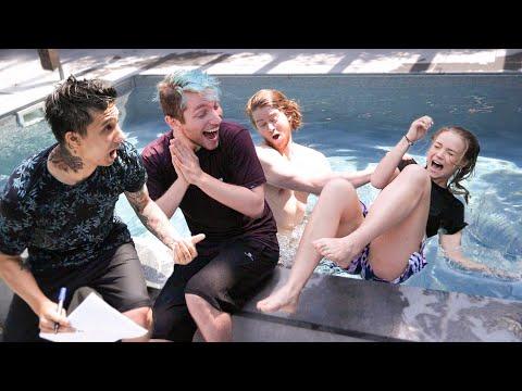 Richtig oder in den Pool gezogen werden😅💦 mit Julia Beautx und Julien Bam - Rezo ja lol ey