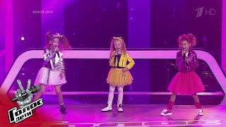 "Skomorokhova, Deryabina, Andreeva. ""Dance Monkey""- Battles - The Voice Kids Russia - Season 7"