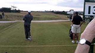 Tiger Woods plays an AMAZING GOLF SHOT his famous stinger low iron tee shot at 2010 British Open