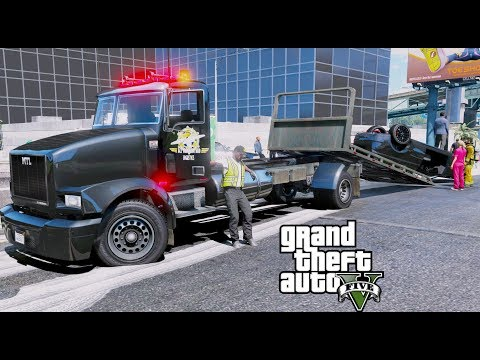 GTA 5 REAL LIFE MOD #27 ACE LOGISTICS & TRUCKING NEW FLATBED TRUCK TOWING CRASHED VEHICLES
