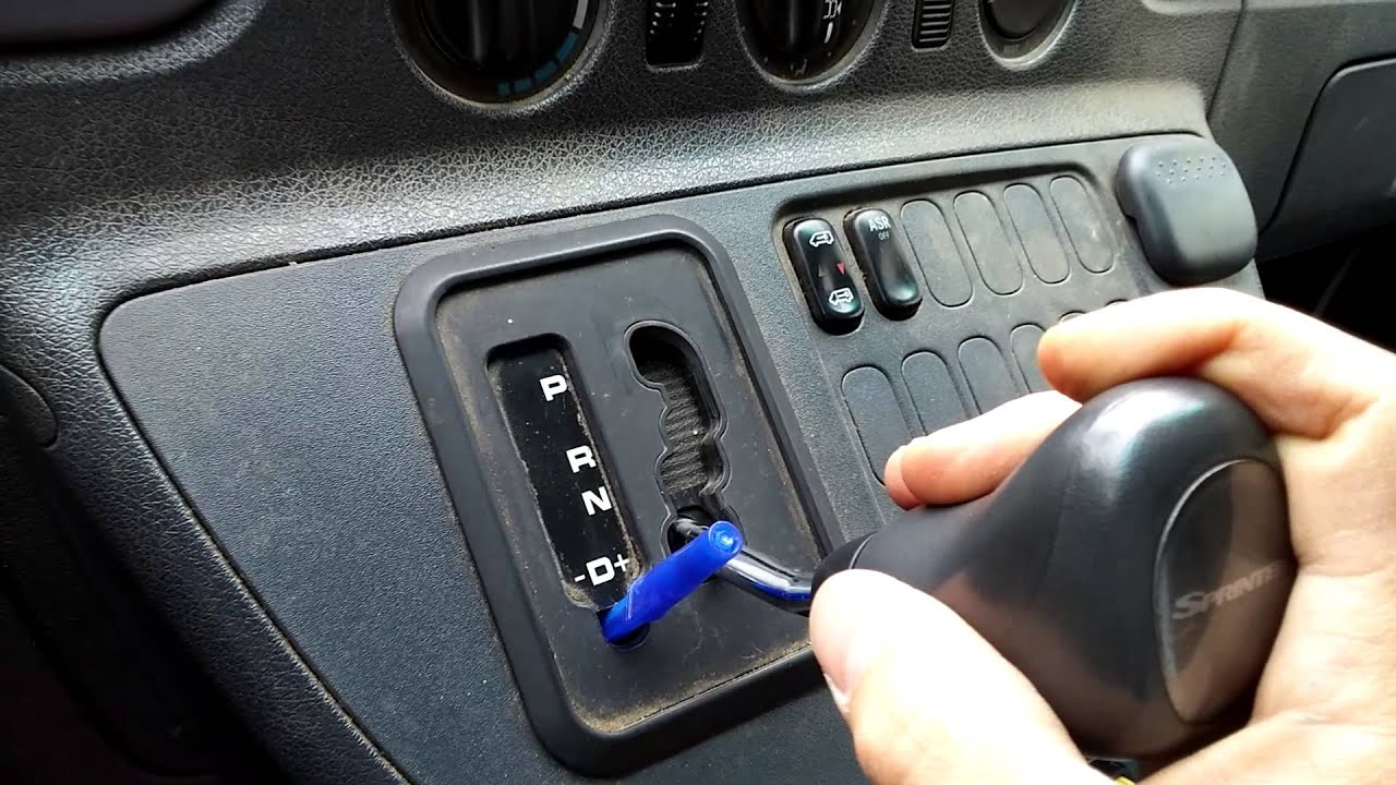 how to release a locked shift lever on a dodge sprinter