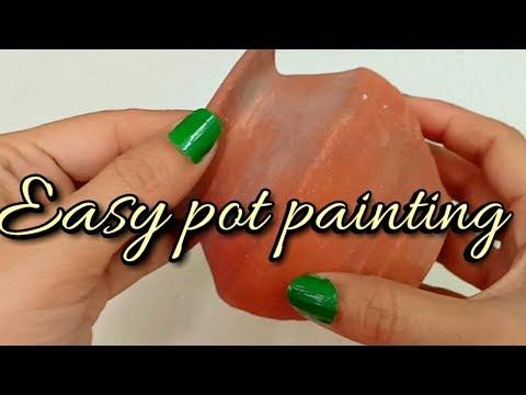 Easy pot painting using cello tape/DIY Pot painting tutorial at home-Shamina's DIY