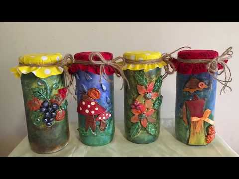 Decorative glass jars/ bottle art/ Upcycled glass jars/ glass jar decoration ideas