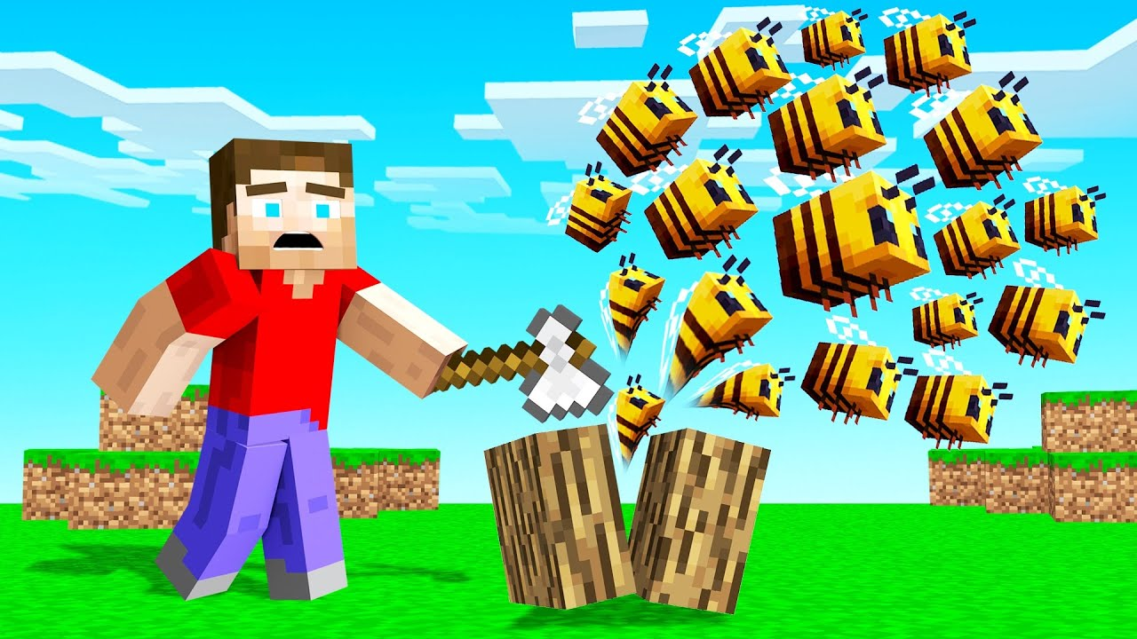 MINECRAFT But Every BLOCK You BREAK Spawns BEES! thumbnail