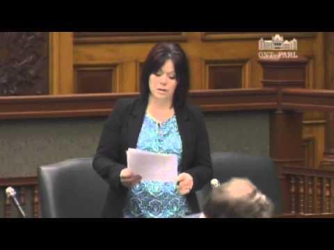 MPP Lisa Gretzkty Debating Bill 49: Ontario Immigration Act