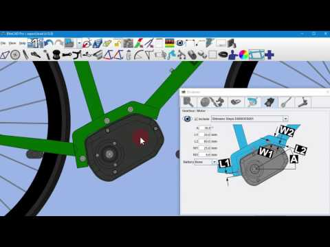 379ab7f55a7 Shimano E6000 Series Steps system motor cabinet in BikeCAD Pro - YouTube