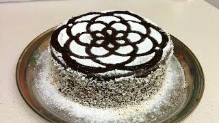 """торт """"праздничный"""" бисквитный со взбитыми сливками и фруктами в шоколадной глазури"""
