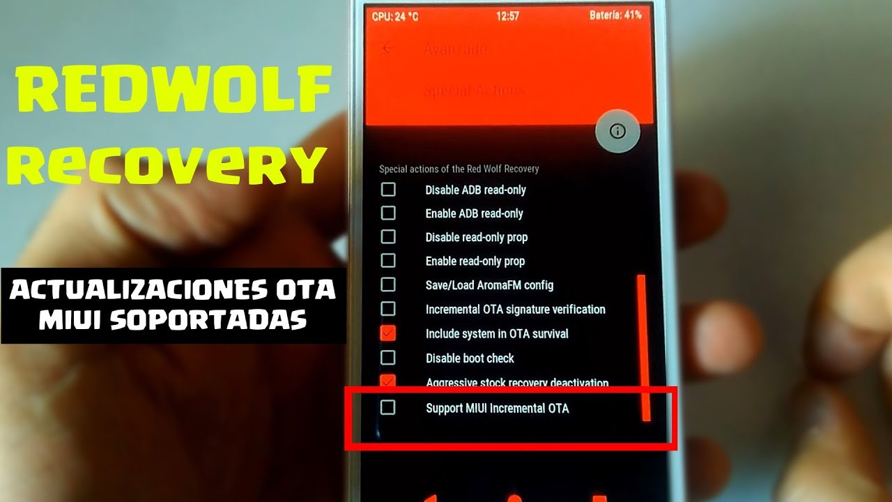 Redwolf Recovery Redmi 4a | flashing recovery without missing updates from  MIUI