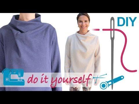 DIY Pullover mit raffiniertem Schalkragen nähen – Zierstoff ...