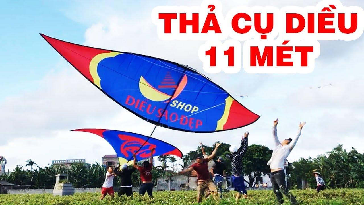 Thả cụ diều 11 mét kéo bay người lên trời – graint kite – Phương pv