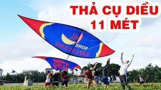 Thả cụ diều 11 mét kéo bay người lên trời - graint kite - Phương pv