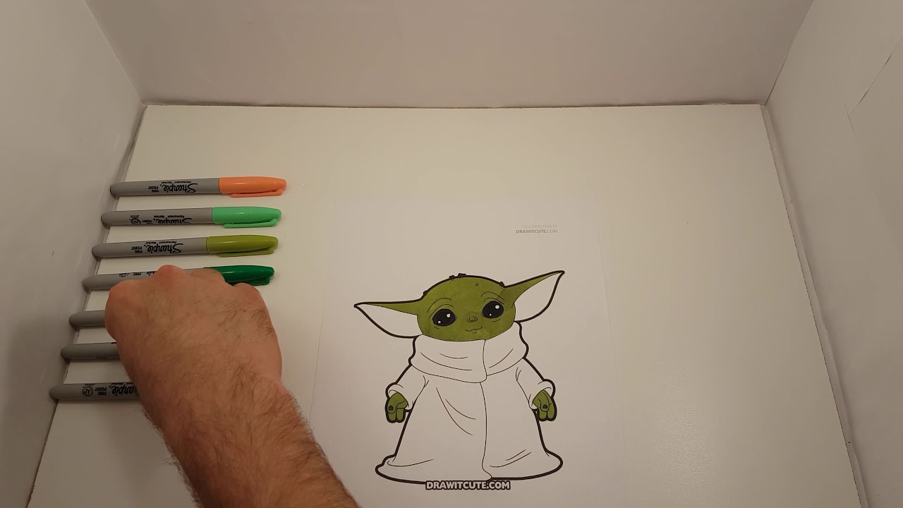 ️ How to draw Baby Yoda from Mandalorian, coloring page ...