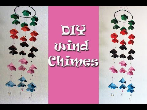 How to make wind chimes out of paper-Make wind chimes using paper-chime with waste material for home