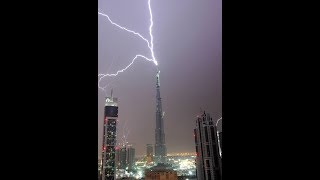 Burj Khalifa Dubai :  Struck By Lightning During Storms 829 Mt Tall Burj Khalifa