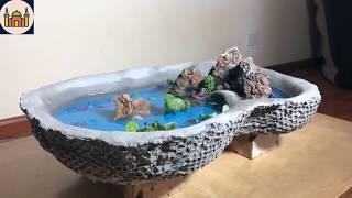AMENAZAS DE IDEAS CON CEMENTO - Cómo hacer un acuario en casa MUY FÁCIL Y HERMOSO