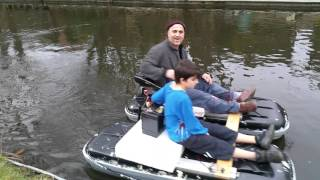 Homemade pontoon catamaran boat dinghy dingy made from car roof box(1)