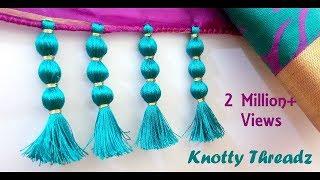 Repeat youtube video How to make Saree Kuchu Design using Silk Thread - Beaded Design at Home | Tutorial !!
