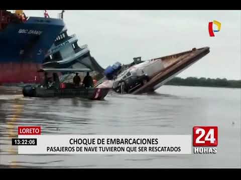 Loreto: buque impacta contra embarcación de carga en río Amazonas