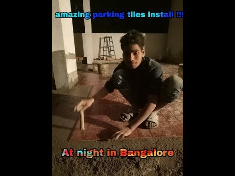 Amazing Install parking tiles at night in Bangalore!!  By vijay sahni