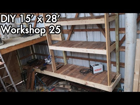 Building a 15'x28' (5mx9m) Workshop 25: DIY Hanging / Roof Wall Mounted Workbench with Shelves!