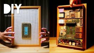 DIY☺︎miniature antique alley world in photo frame ドアを開けると路地裏に繋がっていました。電飾看板(Light sign)、トタン屋根etc~の作り方